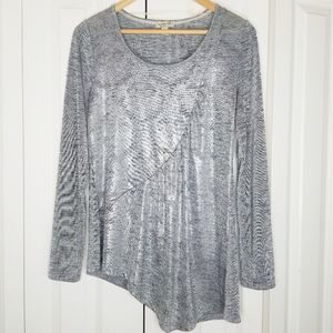 ONE WORLD Silver Gray Holiday Top Assymetrical S